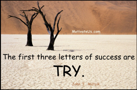 A motivational picture of trees in sand with the quote: The first three letters of success are T-R-Y. By: John T. Matsik